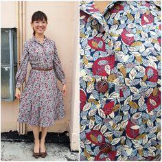 1970 Vintage Dress/ Vino Leaves Dress/ Medium by HEIRESSxVintage, $52.00