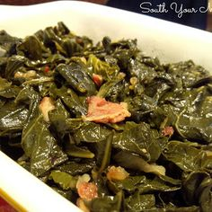 Southern Style Collard Greens  --  fresh collards, bacon, onion, and salt.  Yum, nothing else is needed, except cornbread!