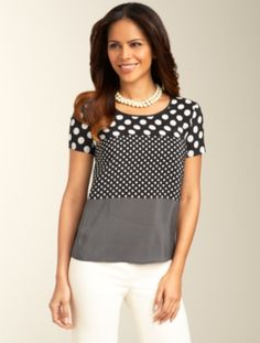 Talbots offers apparel in misses, petite, plus size and plus size petite. Blouse Patterns, Blouse Designs, Cute White Tops, Sewing Blouses, Full Figure Fashion, Casual Tops For Women, Blouse And Skirt, Formal Shirts, Sweaters For Women