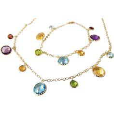 Rainbow Gemstone Necklace Bracelet Set 14k 20cts offered by Premier-Antiques a Ruby Lane Shop