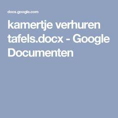 kamertje verhuren tafels.docx - Google Documenten