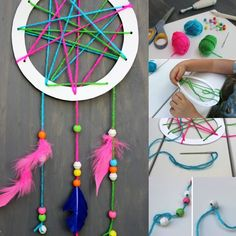 Easy DIY for young and old in 45 inspirations!- Bricolage facile pour petits et grands en 45 inspirations! easy DIY of a dream catcher with your kids - Easy Crafts For Kids, Crafts To Do, Diy For Kids, Diy Crafts, Children Crafts, Crafts Cheap, Teen Crafts, Diy Y Manualidades, Presents For Girls