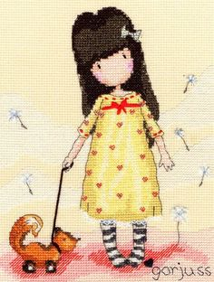 The cute cartoon girl with stripy socks in a pretty dress with her toy fox.