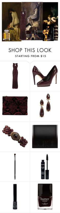 """""""Enslaved by Roja Dove."""" by lillian-pandola ❤ liked on Polyvore featuring Phase Eight, Calvin Klein Collection, Revlon, Alexis Bittar, Marina, Surratt, Chanel, NYX and Butter London"""