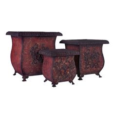 Three-piece iron planter set with warmly weathered red finishes.    Product: Small, medium and larger planter    Construction Material: Iron     Color: Red    Features:     Sophisticated design Has legs     Dimensions:  Small: 10 H x 9.75 W x 9.75 D Medium: 13 H x 12.75 W x 12.5 D Large: 16 H x 15.5 W x 15.5 D