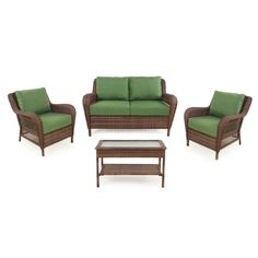 Shop Garden Treasures 4-Piece Sunset Harbor Brown Patio Loveseat and Coffee Table Set with Green Cushions at Lowes.com