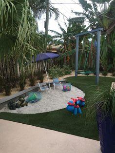 Backyard beach ,Modern sandbox, Platform swing ,Coastal backyard ,synthetic grass, sandbox