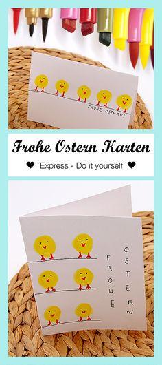 Schnelles Oster DIY: so könnt Ihr Euch schnell und einfach Oster Karten selbst machen. Mehr Ideen für selbst gemachte Karten gibt es auf meinem Blog!