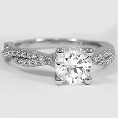 Platinum Twisted Vine Diamond Ring // Set with a 1.02 Carat, Round, Super Ideal Cut, J Color, VVS1 Clarity Diamond #BrilliantEarth