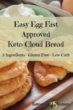 This Easy Egg Fast Keto Cloud Bread Recipe is so delicious. It's so easy to make with only 3 ingredients. This cloud bread is gluten free, egg fast approved, and so tasty. Save this recipe today by Pinning it or Print and save the recipe card for later. Keto Foods, Keto Snacks, Bread Recipes, Keto Recipes, Healthy Recipes, Easy Egg Recipes, Supper Recipes, Chili Recipes, Cheese Recipes