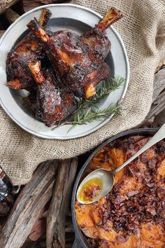 Amber Ale Sticky Lamb Shank & Bacon Sweet Potatoes via Braai Recipes, Beer Recipes, Barbecue Recipes, Cooking Recipes, Lamb Recipes, Cashew Cheese Sauce, Lamb Shank Recipe, Mint Salad, Lamb Shanks