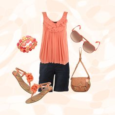 Coral, pink and mauve. Interesting combination of the pink family. sleeveless Pleats and ruffles. Great navy short accent.