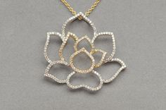 Items similar to big pave diamond lotus pendant in gold on Etsy Diamond Pendant Necklace, Gold Necklace, Lotus Jewelry, Fine Jewelry, Unique Jewelry, Jewellery, 18k Gold, Jewels, Handmade Gifts