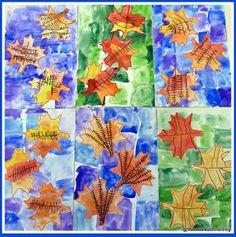 Maestra Caterina: Foglie d'autunno su sfondo ad acquerello