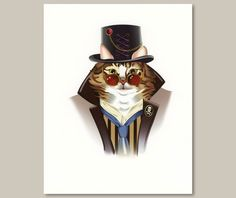 """Steampunk Cat Victorian Print - Maine Coon Cat  $20.00 8.5"""" x 11""""  Maine Coon Kitty Rocky lent his likeness to this adorable steampunk pet print. He's the perfect little Victorian """"punk"""" - decked out in a top hat , formal topcoat, collar and tie."""