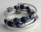 Embraceling - Deep Blue Rubberized bead & Czech Glass