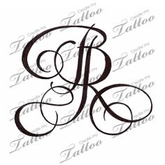 Intertwined initials custom tattoo | Original/Classic #985 | CreateMyTattoo.com
