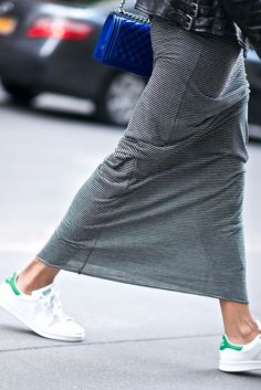 Long skirt + sneakers