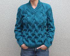 MADE TO ORDER Sweater V neck men turtleneck hand knitted sweater cardigan pullover men clothing handmade men's knitting aran cabled cowlneck