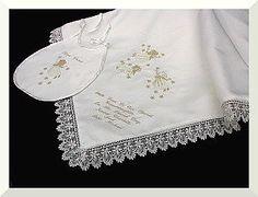 Ivory Christening shawl and a matching Bib