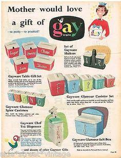 Gayware Canisters Ad Kitchenalia, Australian Vintage Advertising, 1957 Original Ad