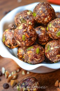 Best homemade almond chocolate chip energy balls/bites ever! We make these all the time - Healthy, satisfying, and naturally gluten free.