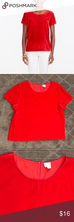 """J. Crew Red Velvet Tee J. Crew Factory Red Velvet T-shirt. Bright red 74% viscose 26% nylon. Good condition. Length 25"""", armpit to armpit width 24"""". Comment with any questions or make an offer. J. Crew Factory Tops Tees - Short Sleeve"""