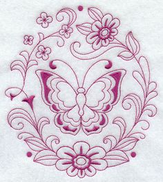 Spring Butterfly Circle (Redwork)