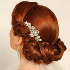 Close up -- retro updo with jeweled comb