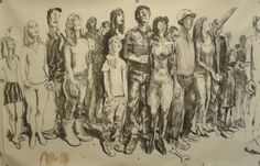 """Alessandro Bazan, """"Popolo"""", 2014 carboncino su carta 300x400 cm"""