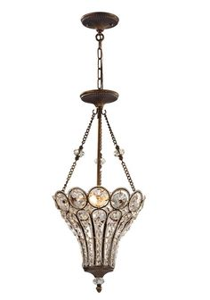 Elberta 3-Light Crystal Chandelier  sc 1 st  Pinterest & Three Light Oil Rubbed Bronze Clear Glass Foyer Hall Pendant : MH74 ...