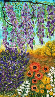 Provence landscape art quilt with golden fields and purple lavender