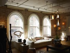 whitewashed brick in a new york city loft. dreamy