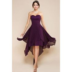 Purple All The Rage Off Shoulder High Low Cocktail Party Skater Dress ❤ liked on Polyvore featuring dresses, hi low dress, skater dress, high low cocktail dresses, purple dress and party dresses