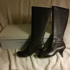 """Tommy Hilfiger Boots Tommy Hilfiger boots in good used condition. There is some fabric splitting on top of the boots but is not noticeable unless you're really investigating. Heels are approx 1 1/2"""". Tommy Hilfiger Shoes Heeled Boots"""