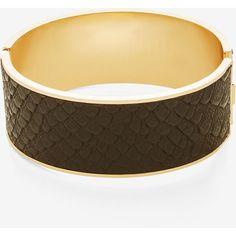 BCBGMAXAZRIA Snake Cuff Bracelet ($68) ❤ liked on Polyvore featuring jewelry, bracelets, black, hinged bangle, brass cuff bracelet, snake jewelry, snake bangle and bcbgmaxazria