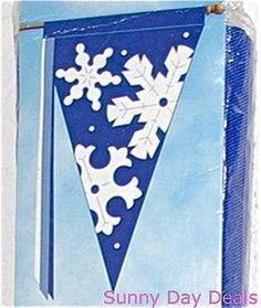 Snowflakes Flag Pennant Decorative Garden 90399 Nylon Applique Seasonal 32 x 52…