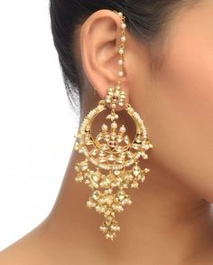 Kundan Earrings with Pearls- Buy Earrings,Preeti Mohan Online Indian Accessories, Jewelry Accessories, Jewelry Design, Women Jewelry, Designer Jewellery, Jewelry Trends, India Jewelry, Ethnic Jewelry, Indian Wedding Jewelry