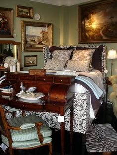 It's a bedroom, yes, but I like the desk at the end of the bed. Better than a bench or trunk.