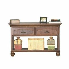 American Premiere Birch Console Table Base Style: S-Base, Finish: Caribbean Rum by Eagle Industries. $689.00. Color: Caribbean Rum.. 2 Felt-Lined Bead Board Drawers.. S-Base.. Rope Moulding.. Dimemsions: 33 H x 48-3/4 W x 25-1/2 D.. 13047NGCR Base Style: S-Base, Finish: Caribbean Rum Features: -Rope moulding.-Bun foot base.-2 Felt lined bead board drawers.-Made in the USA. Collection: -American Premiere Collection.