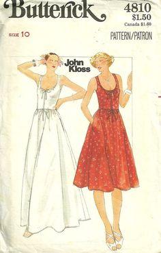 Butterick 4810 1970s John Kloss Misses Sun Dress by mbchills, womens vintage sewing pattern