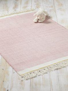 Nice Teppich mit Fransen Baumwolle HELLBLAU ROSA