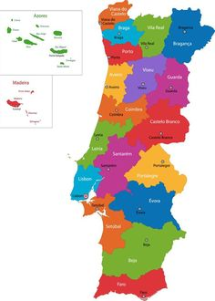 Colorful Portugal map with regions and main cities , Hotel Portugal, Portugal Vacation, Fatima Portugal, South Africa Map, Netherlands Map, Oregon Map, Washington Map, Ireland Map