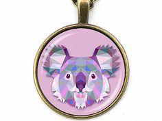 Cabochon Schmuck - ORIGAMI Koala Kette geometrisch Cabochon schlicht - ein Designerstück von Kleines-Karma bei DaWanda