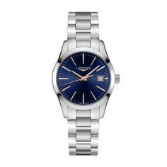 Longines Conquest Classic Stainless Steel Bracelet Watch In Silver/ Blue Rolex, Swatch, Women's Socks & Hosiery, Classic Collection, Watches Online, Mens Gift Sets, Stainless Steel Bracelet, Blue And Silver, Bracelet Watch