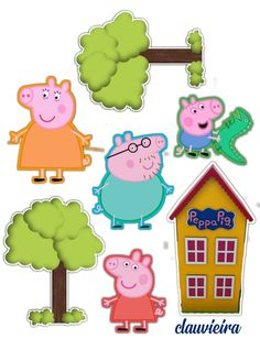 Bolo Da Peppa Pig, Cumple Peppa Pig, Peppa Pig Happy Birthday, Pig Birthday Cakes, Bolo George Pig, Peppa Pig Stickers, Peppa Pig Wallpaper, Peppa Pig Printables, Peppa Pig Family