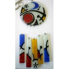 Llamador De Ángeles En Vitrofusión - $ 410,00 Fused Glass, Stained Glass, Glass Wind Chimes, Candle Sconces, Glass Art, Mandala, Wall Lights, Jewels, Outdoor Decor