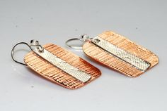 Mixed Metal Earrings - Copper and Silver Jewelry - Metalwork
