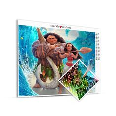 Moana and Maui with Pets Beach Pose Diamond Painting Kit Diamond Paint, Beach Poses, Moana, People Around The World, The Incredibles, Paintings, Kit, Paint, Painting Art