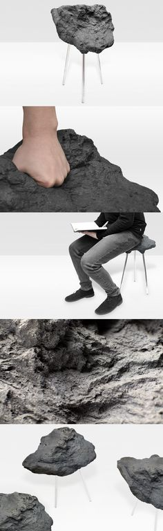 Stone Foam Stool by Matthijs Kok, a stool with a hard look, which is unexpectedly soft.